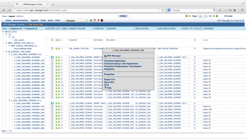 apsware manager for Control-M - DefinitionView: Direct Access to the Job Definitions