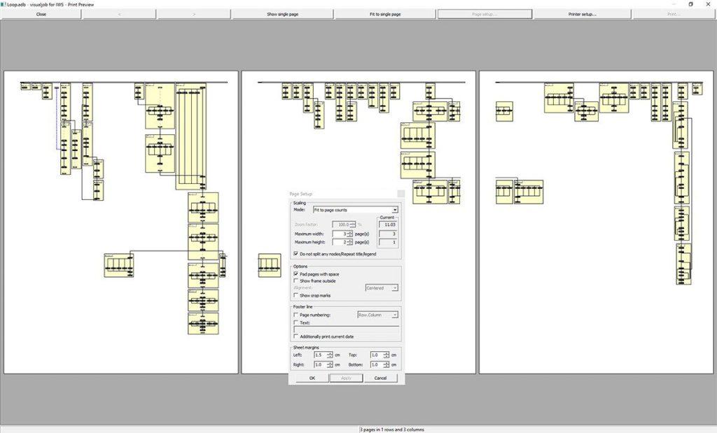 apsware visualjob for IWS - Printing and page setup
